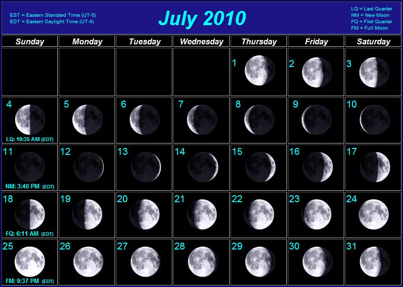 June Calendar With Moon Phases : Moon phases