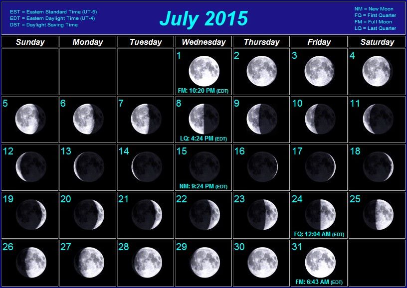 Moon Phases 2015 | Calendar Template 2016