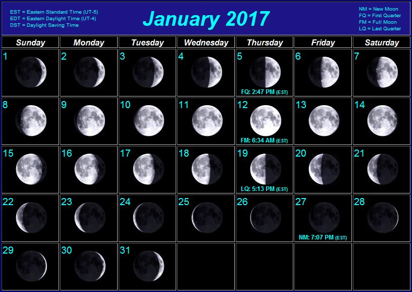 click here for moon phase calendars for 2009 through 202