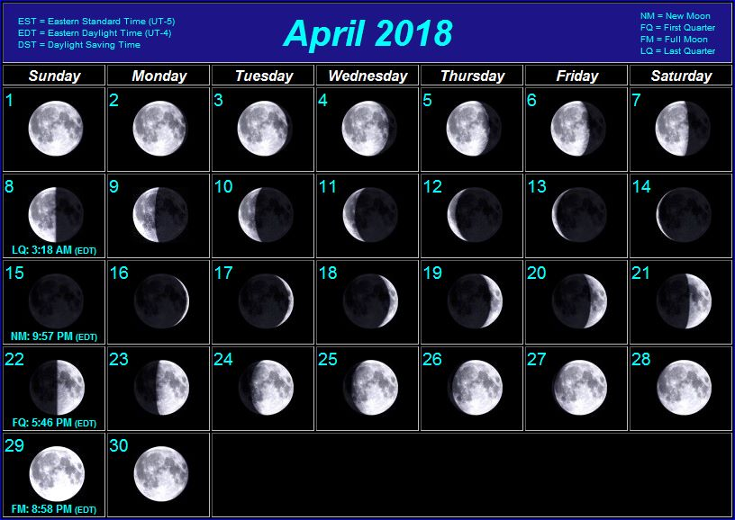 May Calendar With Moon Phases : Moon phases